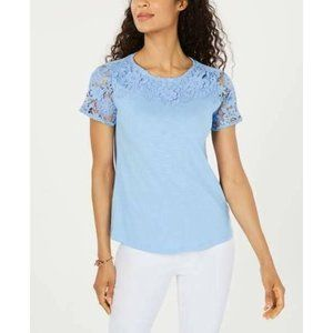 Charter Club Blue Embroidered Floral Yoke Lace Top